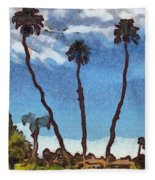 Three Abstract Palm Trees  Fleece Blanket