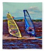 Three Amigo Windsurfers Fleece Blanket