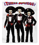 Three Amigos - Day Of The Dead Fleece Blanket