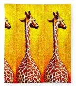 Three Amigos Giraffes Looking Back Fleece Blanket