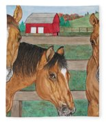 Three Beautiful Horses Fleece Blanket