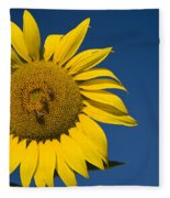 Three Bees And A Sunflower Fleece Blanket