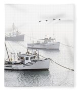 Three Boats Moored In Soft Morning Fog  Fleece Blanket