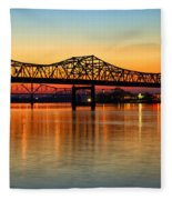 Three Bridge Sunset Fleece Blanket