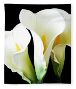 Three Calla Lilies On Black Fleece Blanket