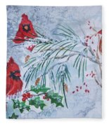 Three Cardinals In The Snow With Holly Fleece Blanket