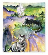Three Cats On The Penon De Ifach Fleece Blanket