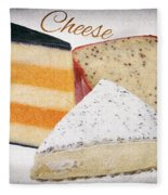 Three Cheese Wedges Distressed Text Fleece Blanket
