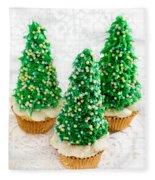 Three Christmastree Cupcakes  Fleece Blanket