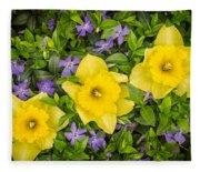 Three Daffodils In Blooming Periwinkle Fleece Blanket
