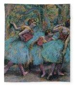 Three Dancers.blue Tutus Red Bodices Fleece Blanket
