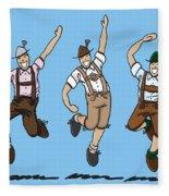 Three Dancing Oktoberfest Lederhosen Men Fleece Blanket