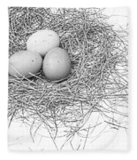 Three Eggs In A Nest Black And White Fleece Blanket