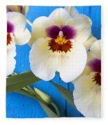 Three Exotic Orchids Fleece Blanket