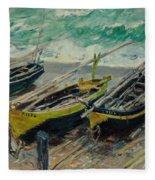 Three Fishing Boats Monet 1886 Fleece Blanket