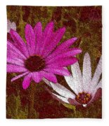 Three Flowers On Maroon Fleece Blanket