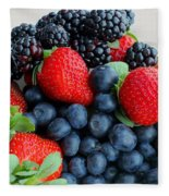 Three Fruit 2 - Strawberries - Blueberries - Blackberries Fleece Blanket