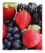 Three Fruit - Strawberries - Blueberries - Blackberries Fleece Blanket
