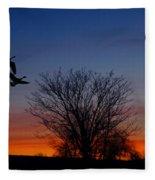 Three Geese At Sunset Fleece Blanket
