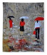 Three In The Rain Fleece Blanket