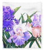 Three Irises Fleece Blanket