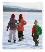 Three Kids Heading Out To Ice Skate Fleece Blanket