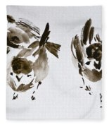 Three Little Birds Perch By My Doorstep Fleece Blanket