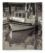 Three Little Boats Sepia Fleece Blanket