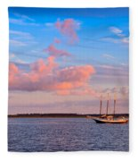 Three Masted Schooner At Anchor In The St Marys River Fleece Blanket