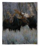 Three Moose In The Woods Fleece Blanket