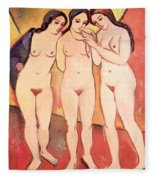 Three Naked Girls Fleece Blanket