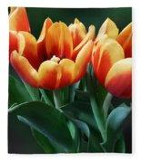 Three Orange And Red Tulips Fleece Blanket