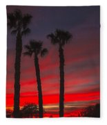Three Palm Sunset Fleece Blanket