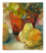 Three Pears And A Pot Fleece Blanket