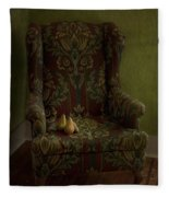 Three Pears Sitting In A Wing Chair Fleece Blanket