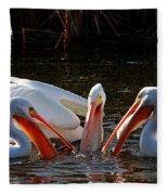 Three Pelicans And A Fish Fleece Blanket