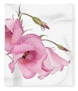 Three Pink Lisianthus Flowers Fleece Blanket