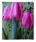Three Pink Tulips Fleece Blanket