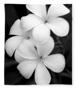 Three Plumeria Flowers In Black And White Fleece Blanket