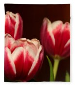 Three Red Tulips Fleece Blanket