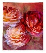 Three Roses Red Greeting Card Fleece Blanket