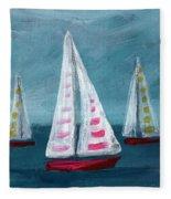 Three Sailboats Fleece Blanket