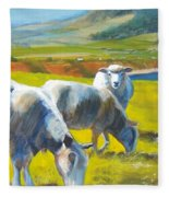 Three Sheep On A Devon Cliff Top Fleece Blanket