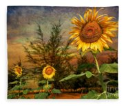 Three Sunflowers Fleece Blanket