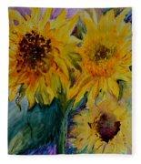 Three Sunflowers Fleece Blanket