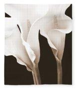Three Tall Calla Lilies In Sepia Fleece Blanket