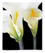 Three Tall Calla Lilies Fleece Blanket