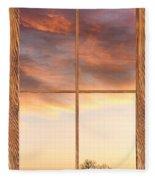 Three Trees Sunrise Barn Wood Picture Window Frame View Fleece Blanket