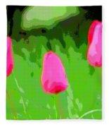 Three Tulips - Painting Like Fleece Blanket