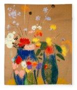 Three Vases Of Flowers Fleece Blanket